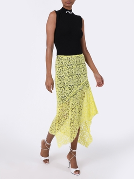 Yellow Asymmetric Lace Skirt