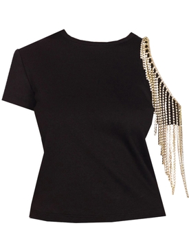 Black Crystal Fringe Cut-Out T-Shirt