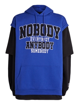 Blue and Black Nobody Hoodie