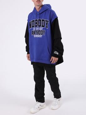 Blue and Black Nobody Hoodie