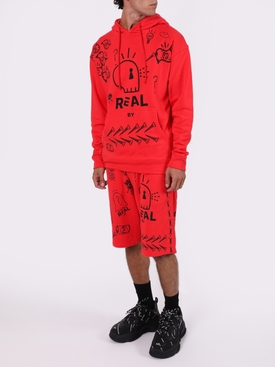 Red and black print hoodie