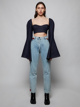 Bell Sleeve Denim Crop Top
