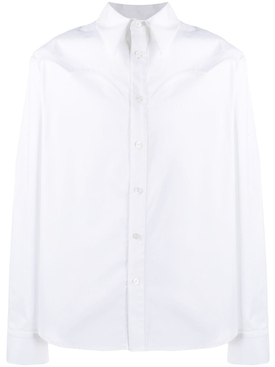 Batwing Detail Button Down Shirt, White