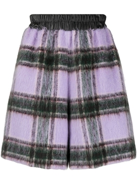 Lilac and blac brushed wool shorts