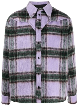 Plaid Print button-down shirt, lilac