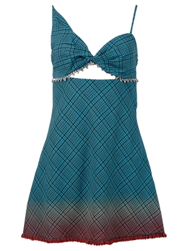 Twisted Cup Bias Mini Dress, Aqua Ombre