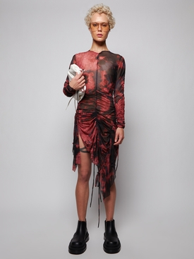 GATHERED LONG SLEEVE TIE-DYE DRESS PINK AND BLACK