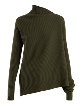Draped knit sweater KHAKI