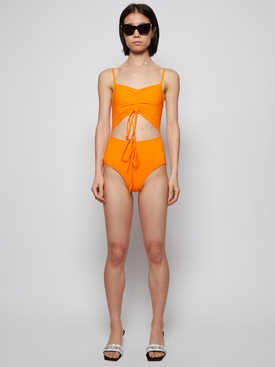 DISCONNECT RUCHED SWIMSUIT TANGERINE