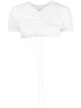 RUCHED CROPPED SUN TEE CHALK