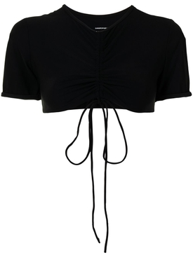 RUCHED CROPPED SUN TEE BLACK