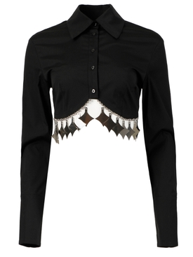 Metal Charm Cropped Blouse, Black