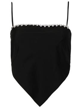 Embellished Handkerchief Bandeau Top, Black