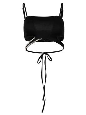 Embellished Asymmetric Bandeau Top, Black