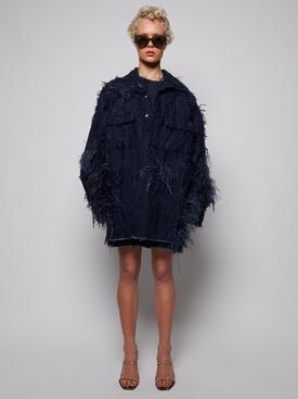 OVERSIZED FEATHER DETAIL T-SHIRT DRESS NAVY BLUE