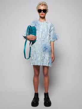 OVERSIZED FEATHER DETAIL T-SHIRT DRESS LIGHT BLUE