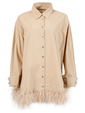 Oversized feathered shirt, beige