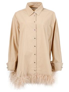 Oversized feathered shirt, beige