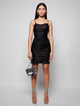 ASYMMETRIC COULISSE MINI DRESS, BLACK