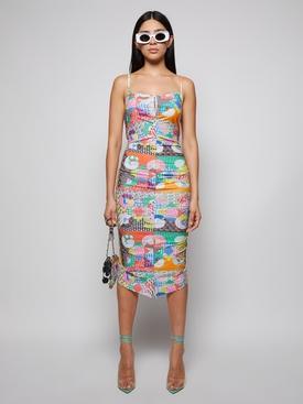 Multicolored patch print dress