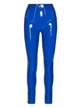 GLOSSY VINYL LEGGINGS, BLUE