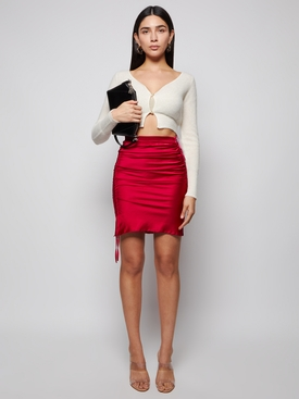 Coulisse mini skirt cherry red
