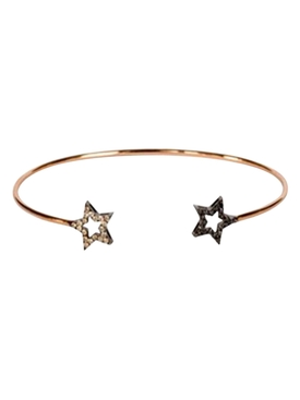 18k Rose Gold Double Star Bangle