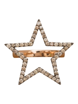18K Rose Gold Star Diamond Ring