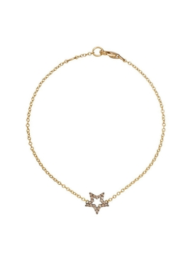 18K gold and brown diamond Star charm bracelet