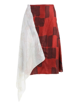 Marine Serre - Red And Ivory Upcycled Asymmetric Skirt - Women