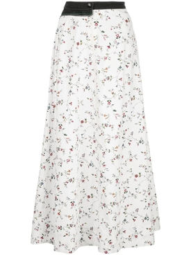 WHITE FLOWER PRINT MIDI SKIRT