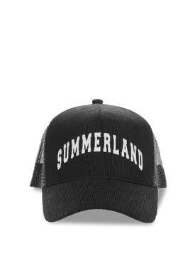 SUMMERLAND CORDUROY AND MESH CAP Black