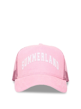 SUMMERLAND CORDUROY AND MESH CAP Pink