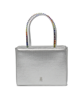 Super Amini Gilda Crystal-Trimmed Bag SILVER