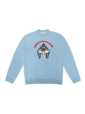 """Self Conscious Bunny"" Knit Sweater, teal"