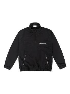 Nylon Tracksuit Quarter-Zip Jacket, Black