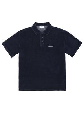 Velour Polo Shirt Navy Blue
