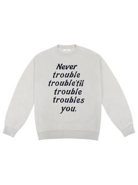 Trouble Crewneck Knit Sweater Bone