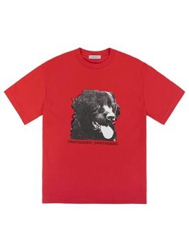 Dog print t-shirt red
