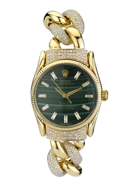 Malachite and Diamond Custom Vintage Oyster Perpetual Rolex