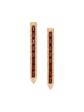 Rose Gold PavŽ Diamond Garnet Earrings
