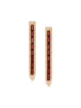 Rose Gold PavŽ Diamond Garnet Earrings