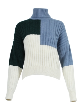 Bottle green, blue & off-white ribbed turtleneck sweater