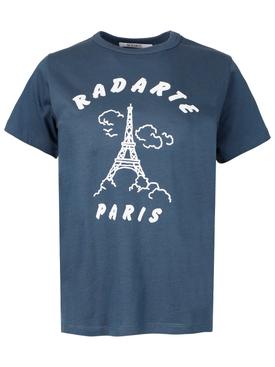 Flocked Paris art t-shirt navy blue
