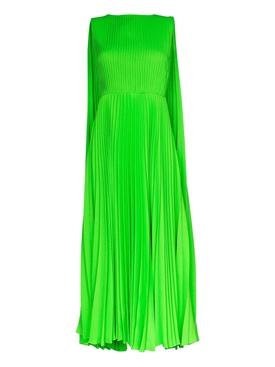 Green Pleated Cape Dress