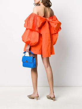 Orange Off-Shoulder Ruffle Playsuit