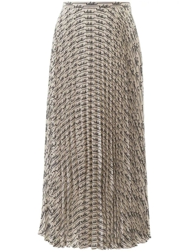 Valentino - Cursive Logo Print Pleated Skirt - Women