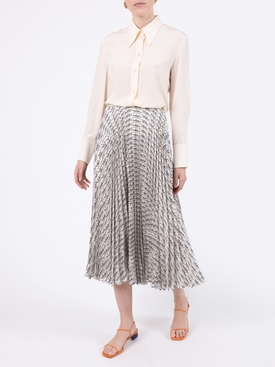 Cursive logo print pleated skirt