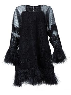 Black feather embellished dress