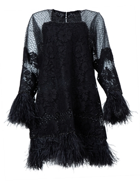 Valentino - Black Feather Embellished Dress - Women
